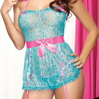 Light Blue Floral Lace Teddy Lingerie