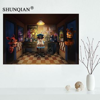 Five nights at freddys cat art poster Cartoon Canvas Poster  Ball posters for kids more size 27x40 30x45 40x60 50x75Kawaii Pokemon go  AT_89_9