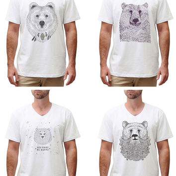 Men Bears in hand draw style Graphic Printed Cotton T-shirt MTS_02