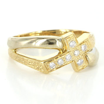 Vintage 18 Karat Yellow Gold Diamond Men Religious Cross Ring Sz 11 Estate