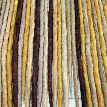 Wool Dreadlocks Set of 30 Dreads Brown Ombre Dreads Wrapped Dreads