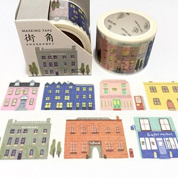 hometown washi tape 5Mx 3cm retro building architecture building europe town old town city scenes landscape wide tape sticker tape decor