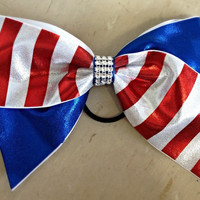 patriotic bow, patriotic cheer bow, red white and blue bow, American flag bow, cheer bow, patriotic accessories, USA bow, 4th of July bow