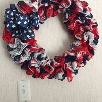 Red, White, and Blue Red Heart Ruffle Scarf Wreath