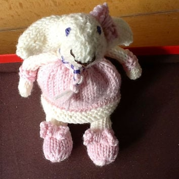 Made to Order Lana the lamb hand knitted Merino wool stuffed miniature lamb , FREE SHIPPING!