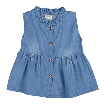 Toddler Newborn Baby Girls Clothing Toddler Sleeveless Button Princess Dress Denim Tutu Party Dresses