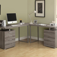 Dark Taupe Reclaimed-Look 3Pc Desk Set (2 Desks + 1 Corner Wedge)