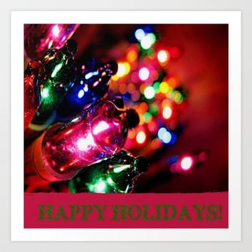 HAPPY HOLIDAYS Art Print by Jessica Ivy