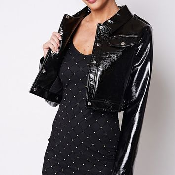 Slicker Than Most Vinyl PU Faux Leather Long Sleeve Snap Front Crop Jacket - 4 Colors Available