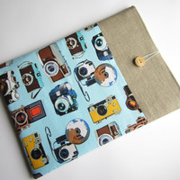 Retro camera  linen MacBook sleeve 13 with pockets, MacBook Pro 13 sleeve, MacBook Air 13 Case, MacBook Pro 13 case, MacBook Air