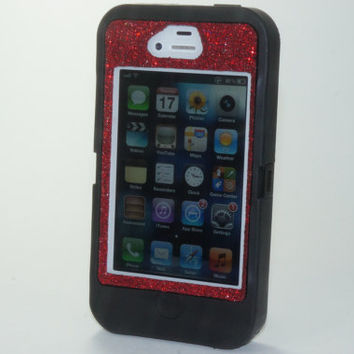 SALE 10% OFF iPhone 4 Case - iPhone 4 Otterbox - Glitter Custom Sparkly Bling Defender iPhone 4S Case - Red Glitter