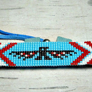 Eagle Loom Bracelet, Bead Loom Bracelet, Red White Blue Bracelet, Womens Bracelet, Adjustable Loom Bracelet
