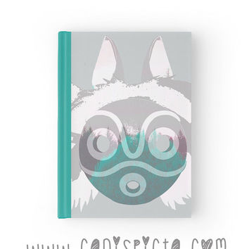 Princess Mononoke Journal Ghibli Notebook Studio Forest Sketchbook Mask Aqua Grey Woodland Teal Wolf Fandom Paper Book Graph Lined Blank Art