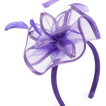 August Hat Feathered Floral Fascinator Headband | Nordstrom