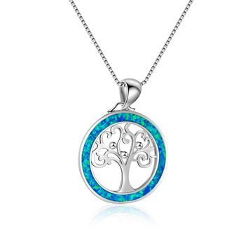 STYLEDOME UFOORO necklace  blue opal pendant Sweet tree couple jewelry necklace for women love gift Christmas