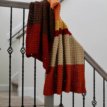 Autumn Crochet Throw - Travel Blanket - Double Single Stitch Striped Afghan - Medium Weight Throw