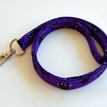 Black Cat Lanyard / Cat Lovers / Halloween Keychain / Cats / Key Lanyard / ID Badge Holder / Kitties / Purple Lanyard / Kittens