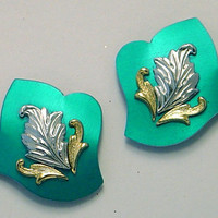 Handmade Magnetic Clip Non Pierced Earrings in Anodized Turquoise Aluminum