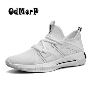 ODMORP New Design Shoes Men Fashion Sneakers White Casual Shoes Breathable Mesh Light Summer Sneaker Men Shoes 2018