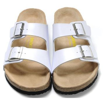 Birkenstock Leather Cork Flats Shoes Women Men Casual Sandals Shoes Soft Footbed Slippers-201