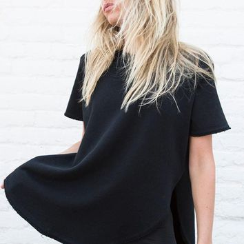 Live In Slouchy Tee - Black French Terry