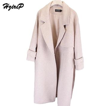 HziriP 2017 New Winter Vintage Women Turn-Down Collar Long Coat Wide Waist Outwear Solid Wool Full Sleeve Ladies Thickening Warm
