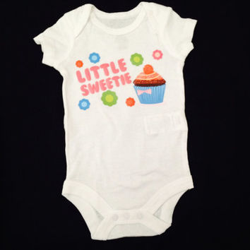 """Cute baby girl Onesuit-- Newborn """"little sweetie"""" Onesuit-- Ready to ship"""