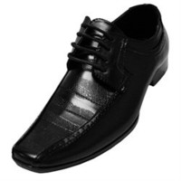 Men's Black Classic Tie Up Textured Dress Shoe (F00760)