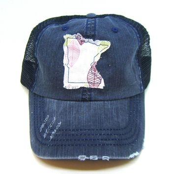 Minnesota Hat - Navy Blue Distressed Trucker Hat - Pink Leaf Applique - All United States Available