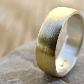 brass wedding ring, domed brass ring silver, mens ring silver brass, mens wedding band two tone, mens ring mixed metal, anniversary gift