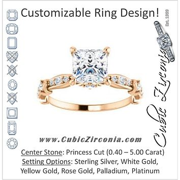 Cubic Zirconia Engagement Ring- The Willow (Customizable Princess Cut Artisan Design with 3 Kinds of Round Cut Accents)