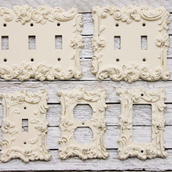 Light Switch Cover, In Creamy Ivory White, Switch Cover, Lightswitch Cover, Light Switch Cover Plates,Shabby Chic,Custom Light Switch Cover