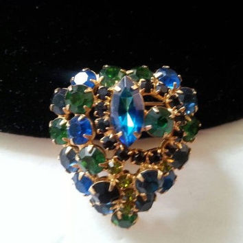 Vintage Rhinestone Brooch Green Aqua Blue Black Pin 1950s 1960s  Mad Men Mod Hollywood Regency Vintage Costume Juliana Style Jewelry