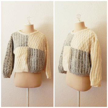 Vintage Cream Gray Color Block Cable Knit Italian Wool Womens Cropped Sweater Medium