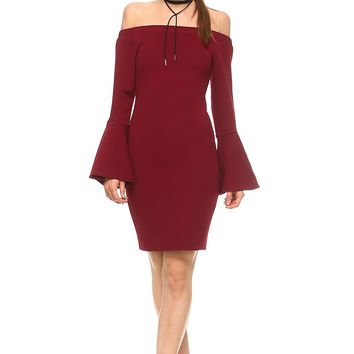 Women's Off the Shoulder Fitted Dress with Bell Sleeves