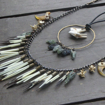 The Shapeshifter of Fairborn Mire. Porcupine Quill fringe. snake bone. genuine Bobcat claws. green Kyanite, Coyote Molar Boho Neck Art Duet