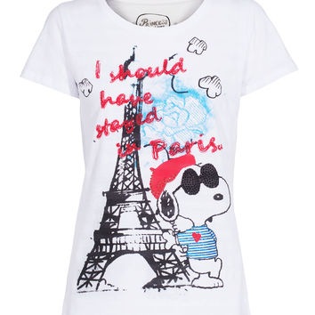 PRINCESS GOES HOLLYWOOD Snoopy in Paris White Cotton t-shirt with print - What's new