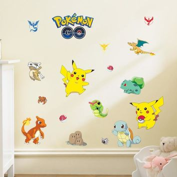 Pocket Monster  Go home decal wall sticker cute Pikachu popular game cartoon decor for kids baby room birthday gifts toyKawaii Pokemon go  AT_89_9