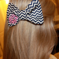 Navy Chevron Monogram Bow Tie Hair Bow