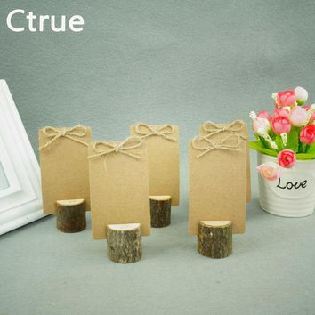 10 PCS Archaize Branch Wedding Wooden Place Card Holder Vintage Card Holder Table Number Stands for Wedding Decoration