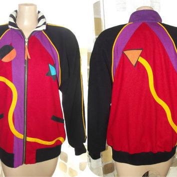 Vintage 80s Geometric Op-Art Colorblock Wool Varsity Jacket SMALL/S VaporWave