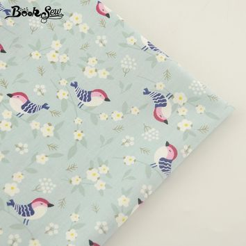 Booksew New Arrival Light Green Cotton Twill Fabric Birds Design Home Textile Patchwork Bedding Clothing Baby Quilting Tecido