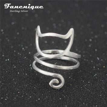 Sterling Silver Twine Cat Ring