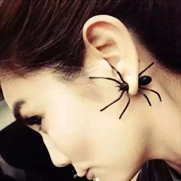 1Pcs Hot Fashion Charm Womens Halloween Black Spider Funny Ear Stud Earrings Jewelry For Woman er976