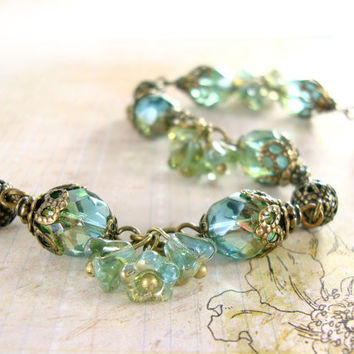 Etherial Teal Vintage Style Floral Bracelet - Neo Victorian Flower Jewelry with Antique Brass Filigree and Aqua Green Czech Glass Beads