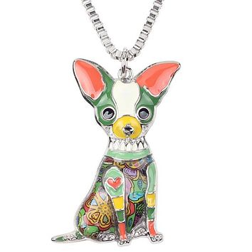 Statement Metal Alloy Chihuahua Dog Choker Necklace Chain Collar Pendant Fashion  Enamel Jewelry For Women