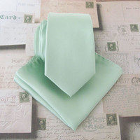 Mens Ties. Dusty Mint JCrew Inspired Dusty Shale Green Narrow Tie and Matching Pocket Square Set