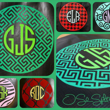 "35+ Colors To Choose from - 12"" Custom Circle Monogram Car Decal - Greek Key Outer Circle - Personalized Sticker"