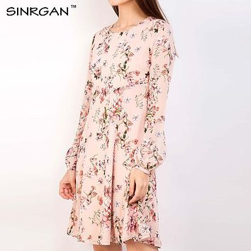 SINRGAN Womens Elegant Vintage Spring Summer Print Dress Casual Long Sleeve Party A Line Dress Female Knee-Length Vestidos