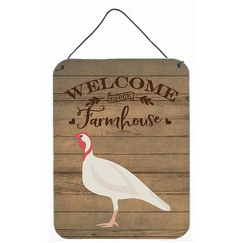 Beltsville Small White Turkey Hen Welcome Wall or Door Hanging Prints CK6933DS1216